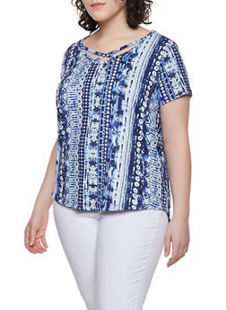 Womens Plus Size Blue Print Tee