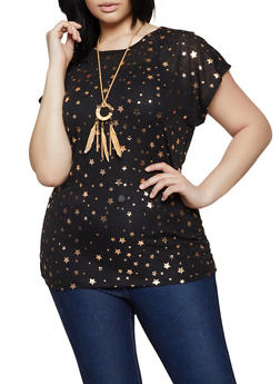 Plus Size Foil Star Print Tee with Necklace - 1910038349382