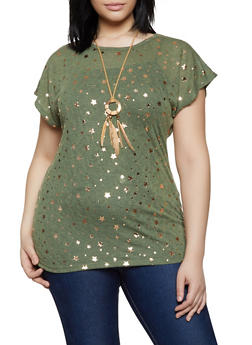 62251334ed Plus Size Foil Star Print Tee with Necklace - 1910038349382