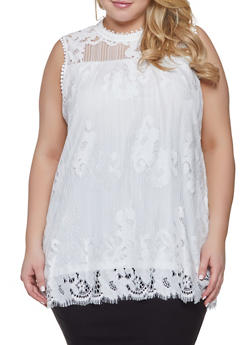 Plus Size Sleeveless Lace Top - 1910051060861