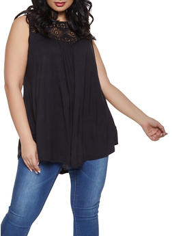 Plus Size Crochet Yoke Tank Top - 1910051063088