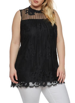 Plus Size Crochet Lace Top - 1910051065861