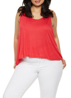 Plus Size Split Lace Back Tank Top - 1910054260494