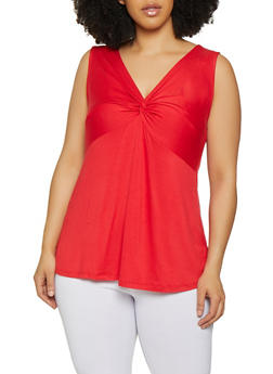 Plus Size Knot Front Tank Top - 1910054261330