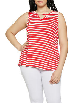 Plus Size Striped Keyhole Tank Top - 1910054261884