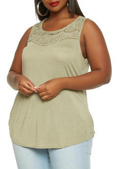 Plus Size Lace Yoke Tank Top - 1910054265876