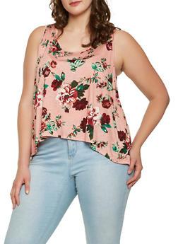 Plus Size Split Back Floral Top - 1910054266813