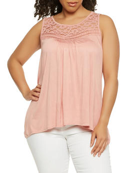 Plus Size Lace Yoke Tank Top - 1910054268339