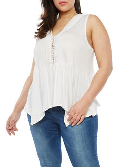 Plus Size Crochet Neckline Detail Top - 1910054269580