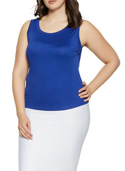 Plus Size Solid Ribbed Tank Top - 1910058752193