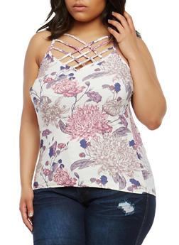 Plus Size Floral Soft Knit Tank Top - 1910060583106