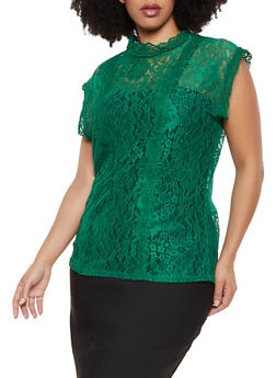 Plus Size Crochet Detail Lace Mock Neck Top - 1910062122589