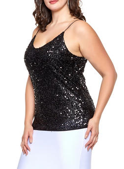 Plus Size Sequin Cami - 1910062122700