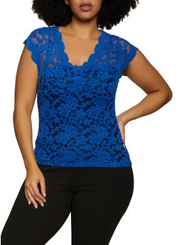 Plus Size Sheer Lace Cap Sleeve Top - 1910062123152