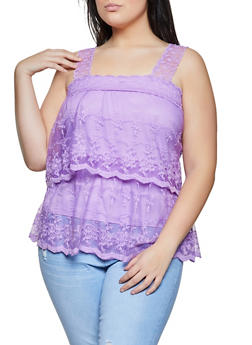 Plus Size Embroidered Tiered Top - 1910062125195