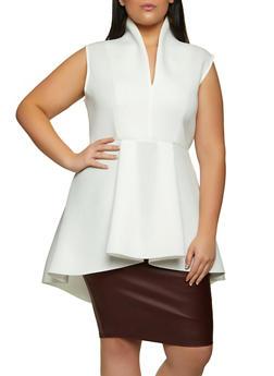 Plus Size Scuba Knit Sleeveless Peplum Top - 1910062128116