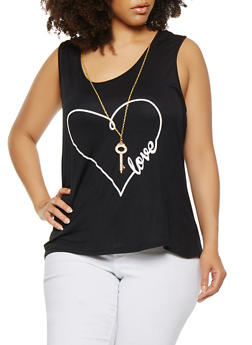 Plus Size Love Graphic Tank Top with Necklace - 1910062702204