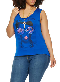 Plus Size Graphic Tank Top with Necklace - 1910062702205