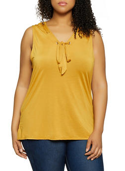 Plus Size Threaded Neckline Sleeveless Top - 1910062702397