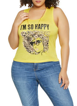 Plus Size Im So Happy Graphic Tank Top with Necklace - 1910062702580