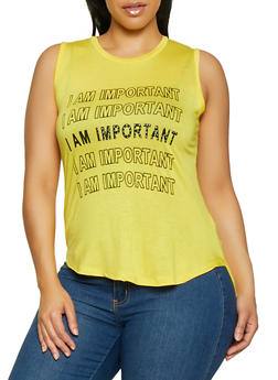Plus Size I Am Important Graphic Tank Top - 1910062702590