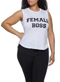 Plus Size Female Boss High Low Tank Top - 1910062702596