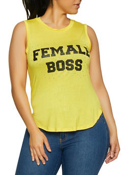 Plus Size Female Boss High Low Tank Top - 1910062702596