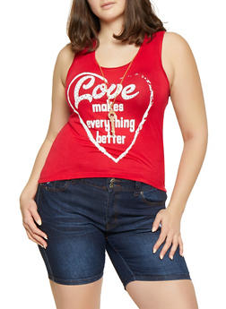 Plus Size Love Makes Everything Better Tank Top with Necklace - 1910062702602