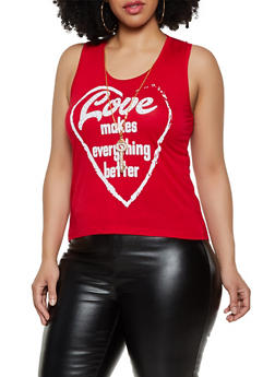 Plus Size Love Makes Everything Better Top with Necklace - 1910062702614