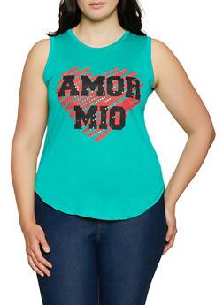 Plus Size Amor Mio Sleeveless Top - 1910062702616