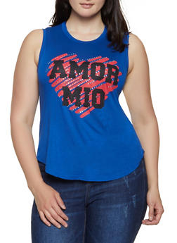 Plus Size Amor Mio Sleeveless Top - 1910062702616