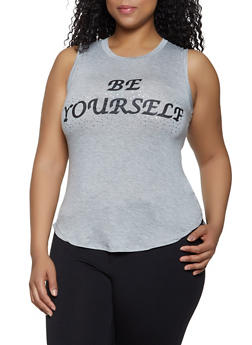 Plus Size Be Yourself High Low Tank Top - 1910062702623