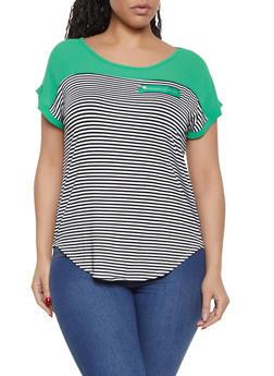 Plus Size Striped Color Block Top - 1910062702669