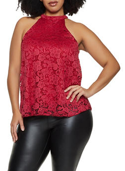 Plus Size Sleeveless High Neck Lace Top - 1910062703096