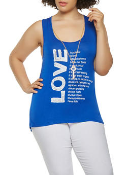 Plus Size Rhinestone Graphic Top with Necklace - 1910062706159