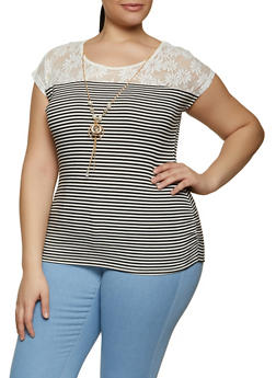 Plus Size Ruched Lace Yoke Striped Top with Necklace - 1910062706477