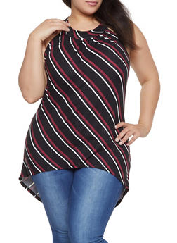 Plus Size Striped High Low Top - 1910066597010