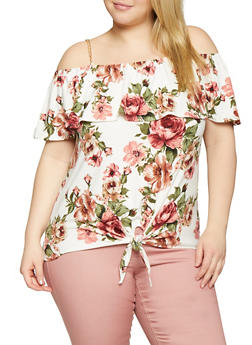 4c2ef9b8ac115b Plus Size Floral Off the Shoulder Chain Detail Top - 1910066597011