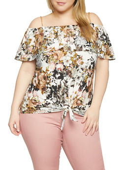 Plus Size Floral Off the Shoulder Chain Detail Top - 1910066597011