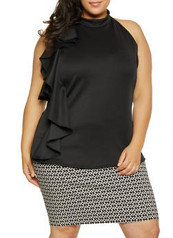 Plus Size Ruffle Trim Scuba Top - 1910072240531