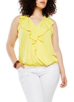 Plus Size Faux Wrap Ruffle Top - 1910072246635