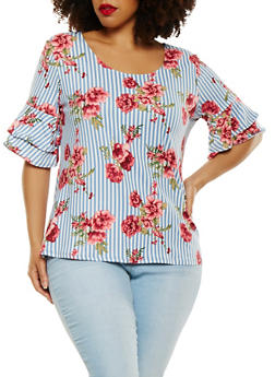 Plus Size Tiered Sleeve Top - 1910072246748