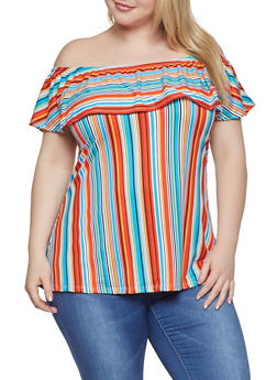Plus Size Printed Off the Shoulder Top | 1910074012567 - Multi - Size 1X - 1910074012567