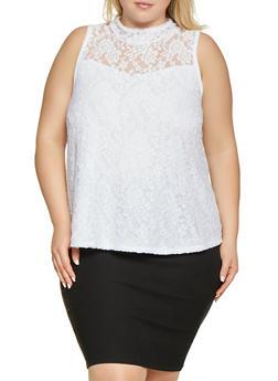 Plus Size Lace Mock Neck Top - 1910074012716
