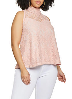 Plus Size Lace Mock Neck Top - 1910074012716