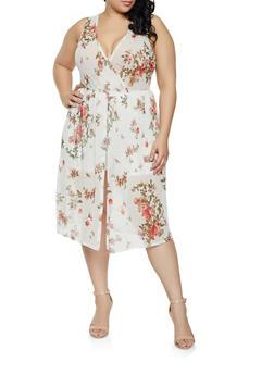 6fb88240a62 Plus Size Floral Faux Wrap Midi Romper - 1910074280019