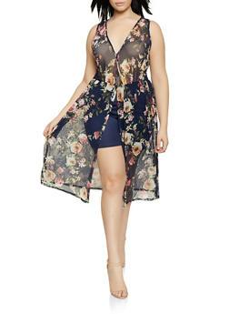 f85e7234979 Plus Size Mesh Floral Overlay Romper - 1910074285930