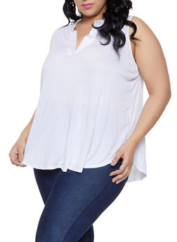 a5893717202 Plus Size Mandarin V Neck Tank Top - 1910074287131