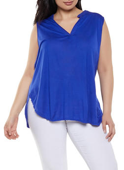 Plus Size Mandarin V Neck Tank Top - 1910074287131