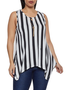Plus Size Vertical Stripe Sharkbite Top with Necklace - 1910074289040
